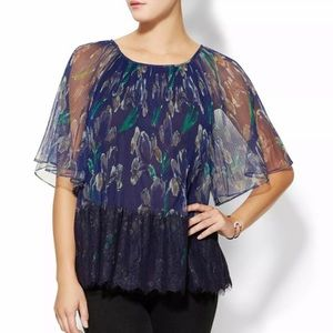 Marchesa Voyage Pleated & Lace Blue Top Size 0